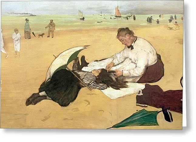 Beach Scene Little Girl Having Her Hair Combed by her Nanny Greeting Card by Edgar Degas