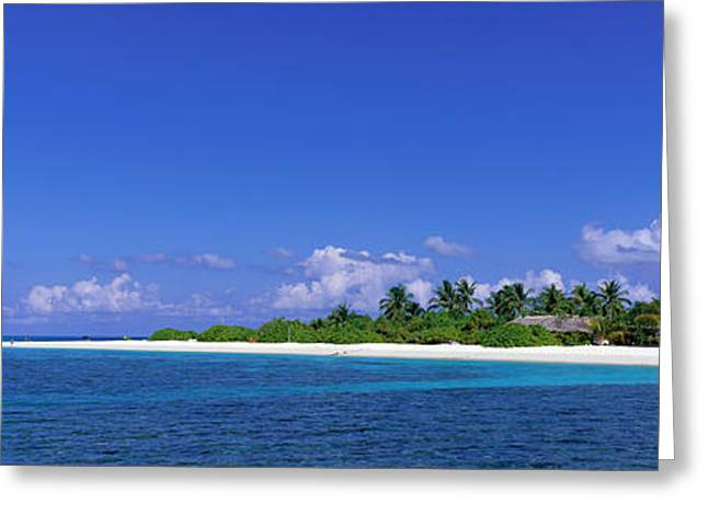 Panoramic Ocean Greeting Cards - Beach Scene Maldives Greeting Card by Panoramic Images