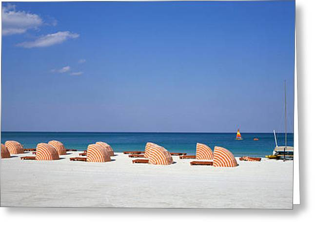 Cabanas Greeting Cards - Beach Scene, Miami, Florida, Usa Greeting Card by Panoramic Images