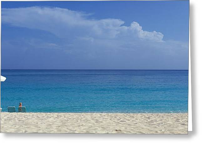 Chaise Photographs Greeting Cards - Beach Scene, Nassau, Bahamas Greeting Card by Panoramic Images