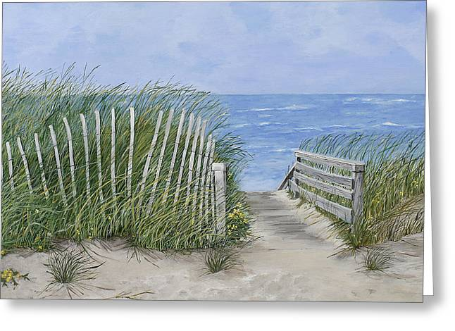 Sand Fences Paintings Greeting Cards - Beach Scene Greeting Card by Virginia McLaren