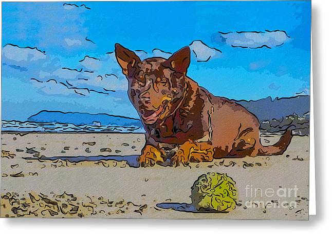 Owfotografik Mixed Media Greeting Cards - Beach Scout Abstract Dog Art by Omaste Witkowski Greeting Card by Omaste Witkowski