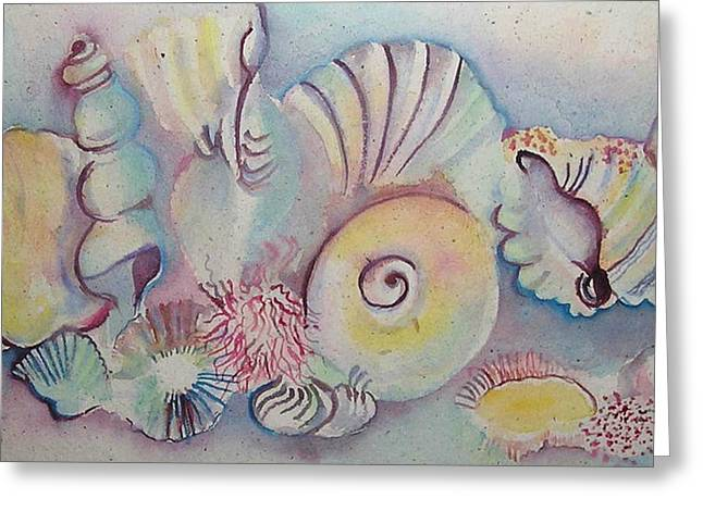 Watercolour Pastels Greeting Cards - Beach Shack And Sea Shells 1.3 Greeting Card by Cheryl Miller