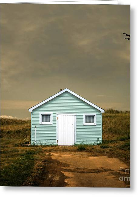 Shack Greeting Cards - Beach Shack Square Greeting Card by Edward Fielding
