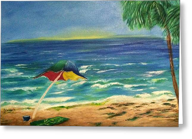 Beach Towel Mixed Media Greeting Cards - Beach Side Greeting Card by Annette Forlenza