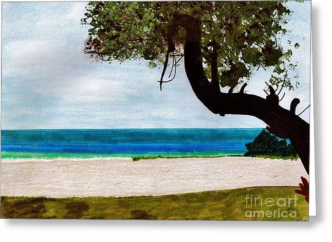 Surf Art Drawings Greeting Cards - Beach Side Greeting Card by D Hackett