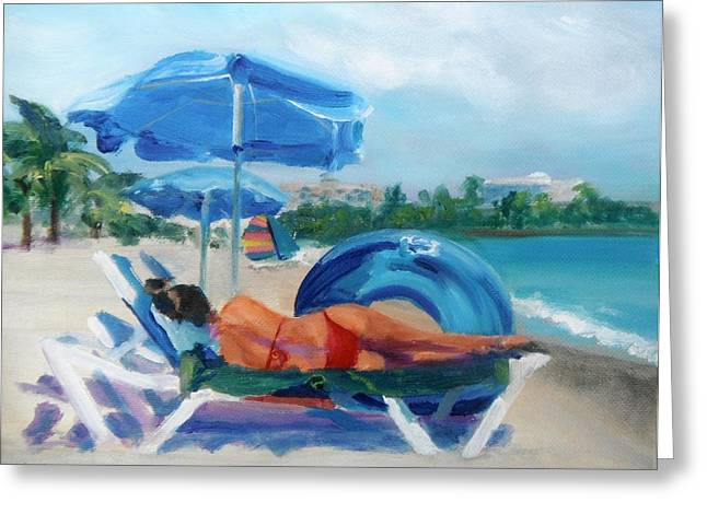 Lounge Paintings Greeting Cards - Beach Siesta Greeting Card by Donna Tuten