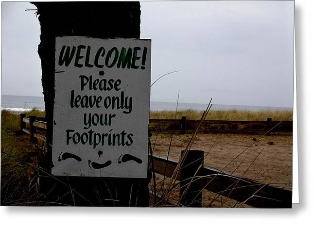 Instagood Greeting Cards - Beach Sign at Neskowin Greeting Card by Lizbeth Bostrom