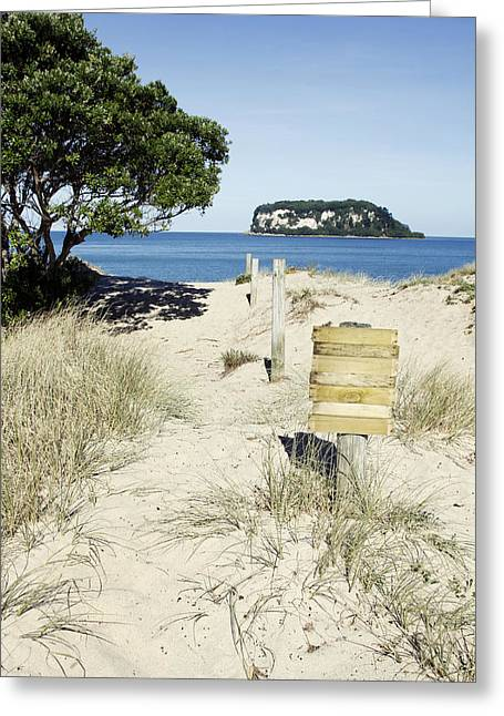 Beach Sign Greeting Card by Les Cunliffe