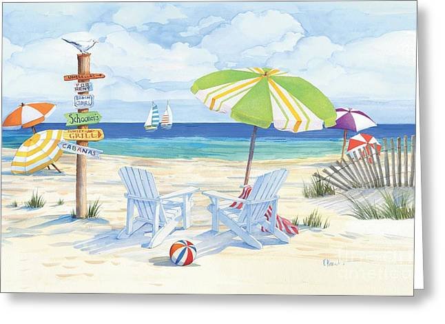 Cabana Greeting Cards - Beach Signs Adirondack Chairs Greeting Card by Paul Brent