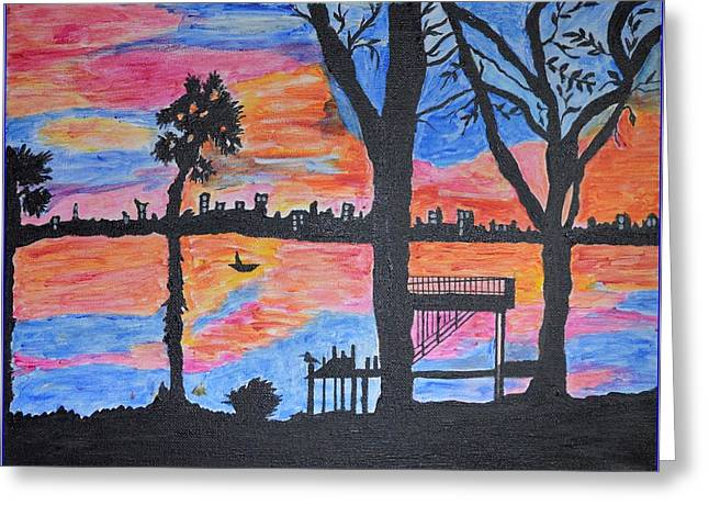 A Summer Evening Greeting Cards - Beach Silhouette Greeting Card by Sonali Gangane
