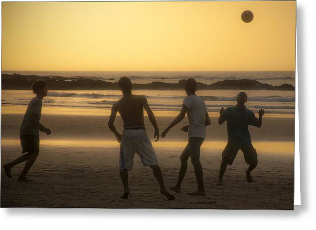 South West France Greeting Cards - Beach Soccer At Sunset Greeting Card by Owen Weber