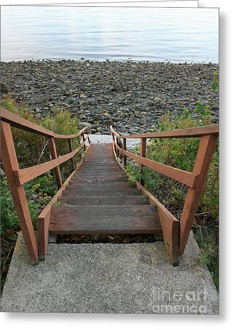 Wooden Stairs Greeting Cards - Beach Stairs Greeting Card by Lori Amway