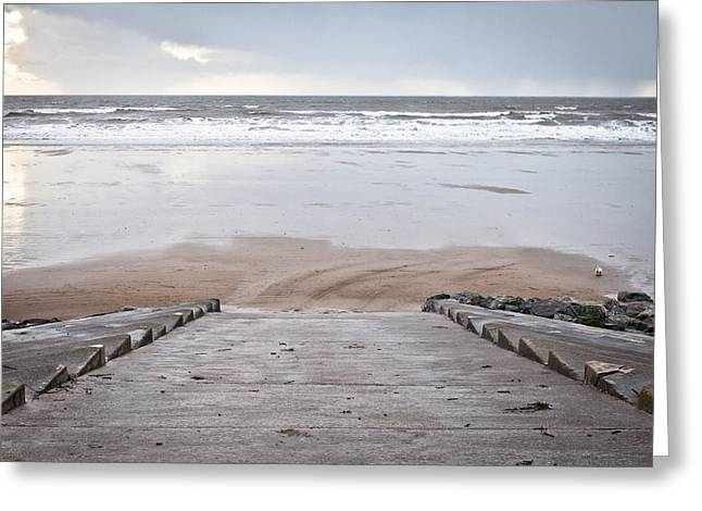 Stepping Stones Greeting Cards - Beach steps Greeting Card by Tom Gowanlock