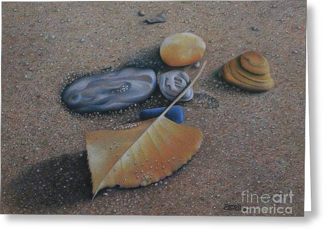 Sandy Beaches Drawings Greeting Cards - Beach Still Life III Greeting Card by Pamela Clements