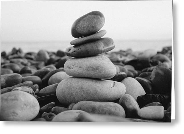 Beach Stones - 3 Greeting Card by Jane M