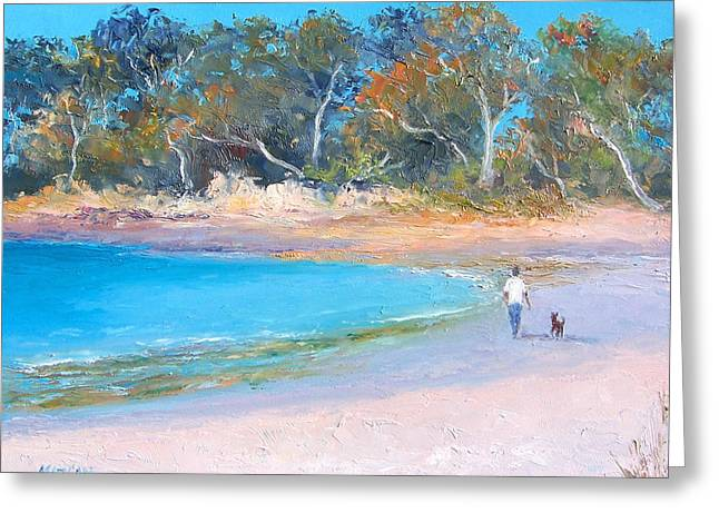 Man And Dog Greeting Cards - Beach Stroll Greeting Card by Jan Matson