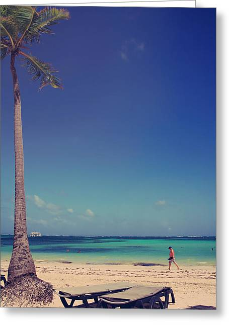 Caribbean Island Greeting Cards - Beach Stroll Greeting Card by Laurie Search