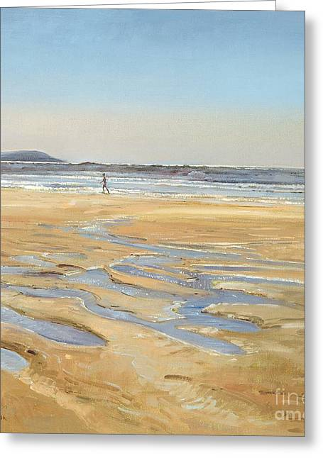 Dog Trots Greeting Cards - Beach Strollers  Greeting Card by Timothy  Easton