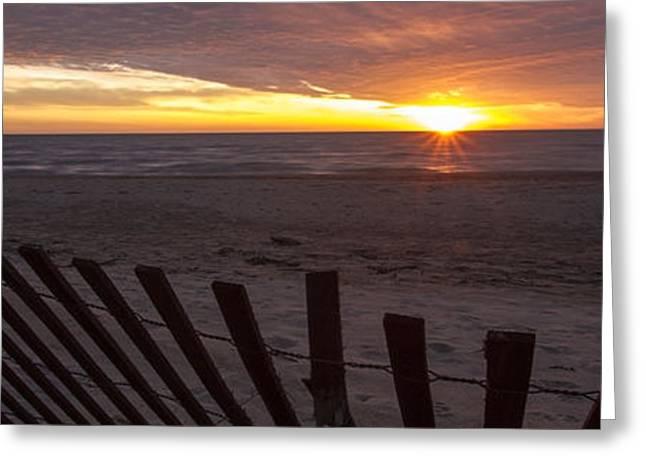 Lake Michgan Greeting Cards - Beach Sunrise In 3 To 1 Aspect Ratio  Greeting Card by Sven Brogren