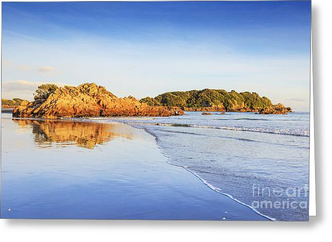 Mount Maunganui Greeting Cards - Beach Sunrise Mount Maunganui New Zealand Greeting Card by Colin and Linda McKie