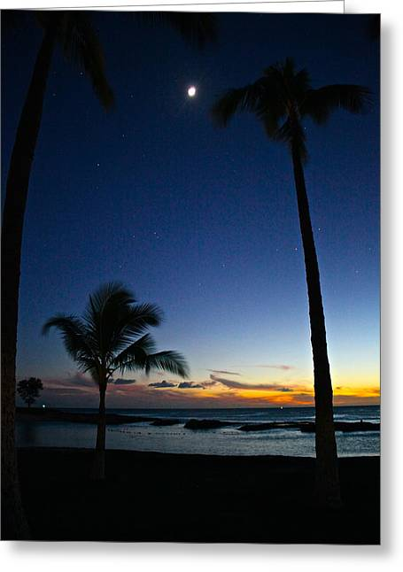 Moon Beach Greeting Cards - Beach Sunset Greeting Card by Eddie Freeman