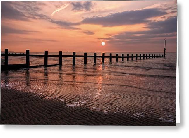 Beach Sunset Greeting Card by Ian Mitchell
