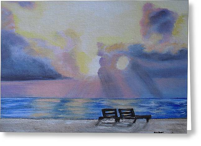 Beach Sunset Greeting Card by Melissa Torres