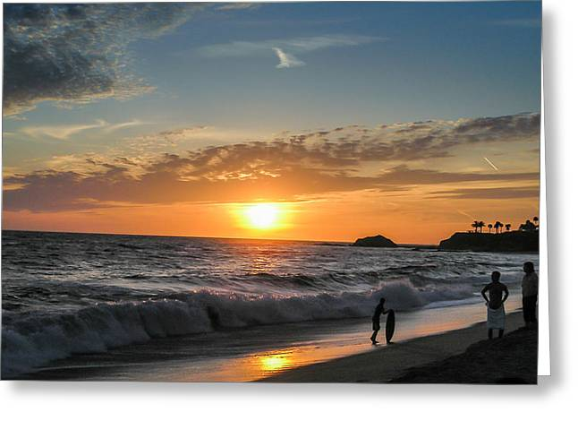 Ocean. Reflection Greeting Cards - Beach Sunset Greeting Card by Richard Brown