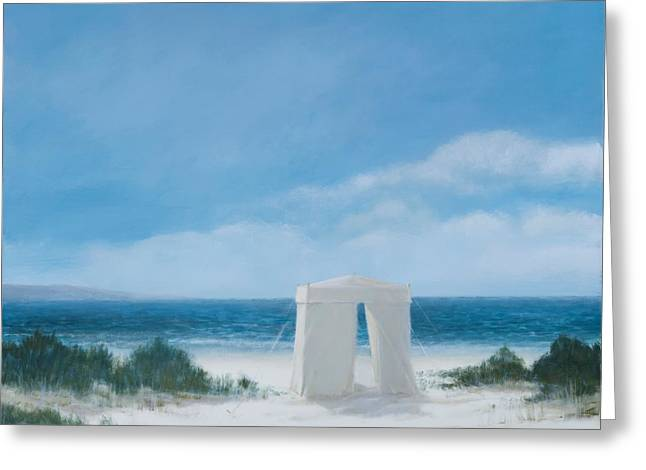 Beach Greeting Cards - Beach Tent, 2012 Acrylic On Canvas Greeting Card by Lincoln Seligman