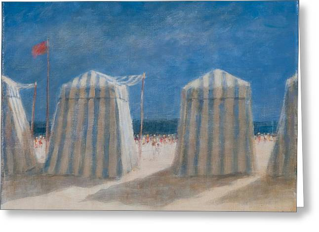 Beach Greeting Cards - Beach Tents, Brittany, 2012 Acrylic On Canvas Greeting Card by Lincoln Seligman