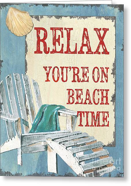 Beach Decor Paintings Greeting Cards - Beach Time 1 Greeting Card by Debbie DeWitt
