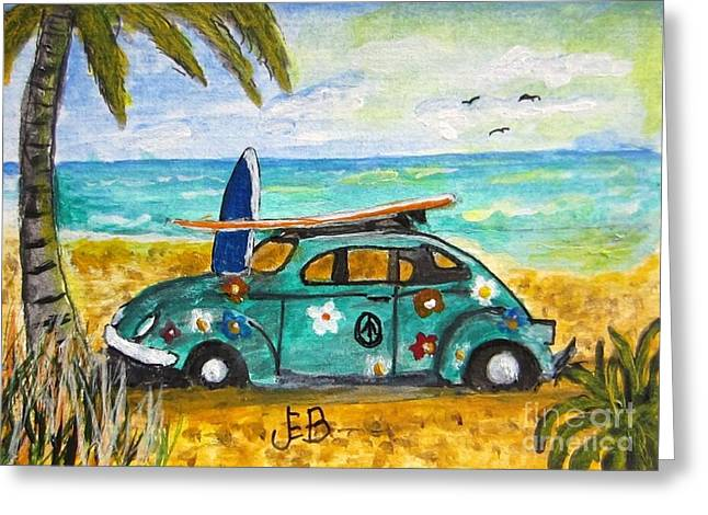 Vw Beetle Paintings Greeting Cards - Beach Time Greeting Card by John Burch