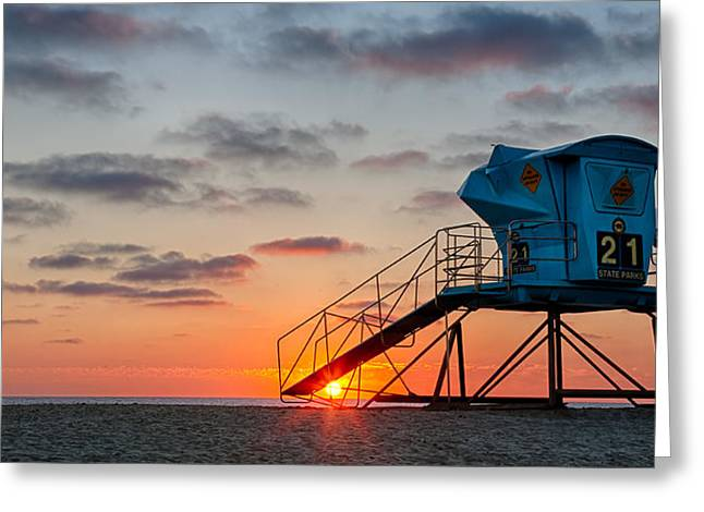 California Beaches Greeting Cards - Beach Tower Wide Screen Greeting Card by Peter Tellone