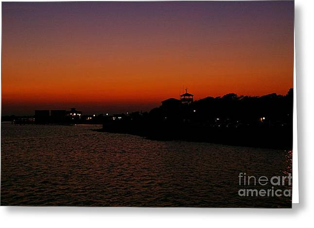 Beach At Night Greeting Cards - Beach Town Sunset Greeting Card by JW Hanley