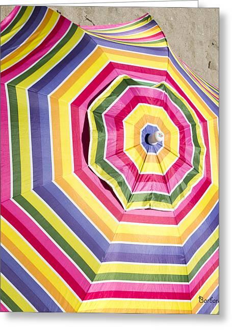 California Beach Art Greeting Cards - Beach Umbrella Greeting Card by Barbara Snyder