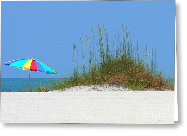 Day At The Beach Greeting Cards - Beach Umbrella - Digital Painting Greeting Card by Carol Groenen