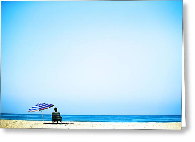 Ocean Landscape Greeting Cards - Beach Umbrella Greeting Card by Emilio Lopez