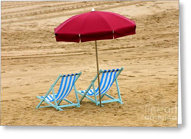 Empty Chairs Greeting Cards - Beach Umbrella, France Greeting Card by Holly C. Freeman