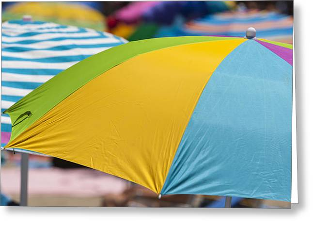 Kids Swimming At Beach Greeting Cards - Beach Umbrella Rainbow 1 Greeting Card by Scott Campbell