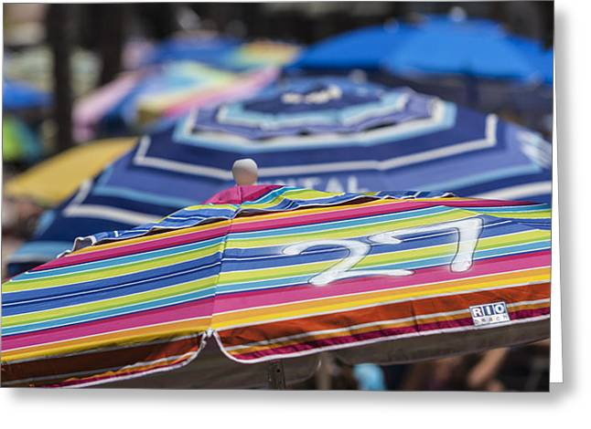 Kids Swimming At Beach Greeting Cards - Beach Umbrella Rainbow 2 Greeting Card by Scott Campbell