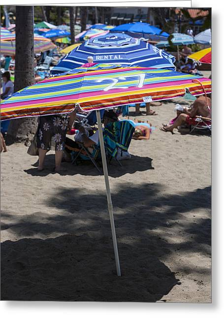 Kids Swimming At Beach Greeting Cards - Beach Umbrella Rainbow 3 Greeting Card by Scott Campbell