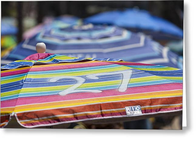 Kids Swimming At Beach Greeting Cards - Beach Umbrella Rainbow 4 Greeting Card by Scott Campbell