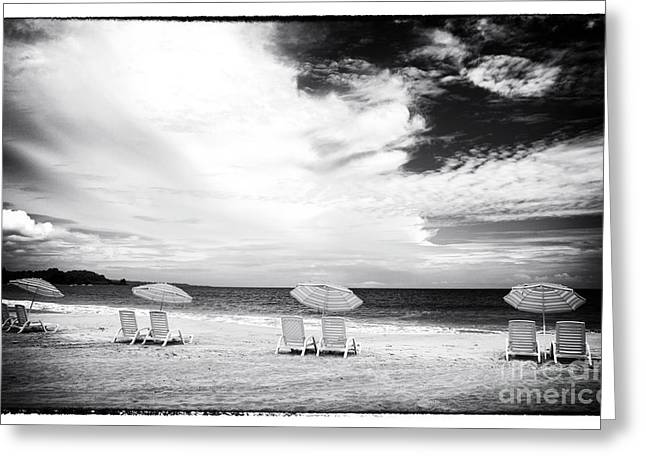 Beach Umbrellas At Red Frog Greeting Card by John Rizzuto