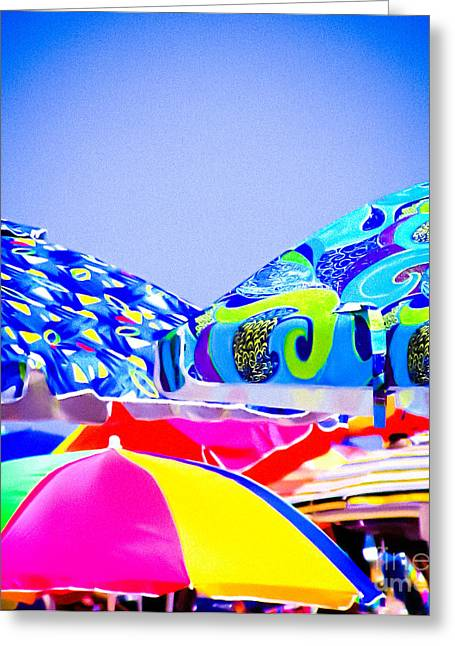 Original Art Photographs Greeting Cards - Beach Umbrellas Greeting Card by Colleen Kammerer