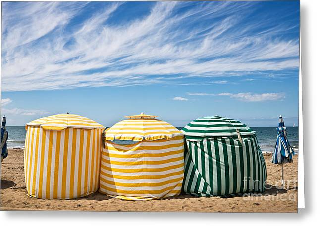 Calvados Greeting Cards - Beach umbrellas Greeting Card by Delphimages Photo Creations