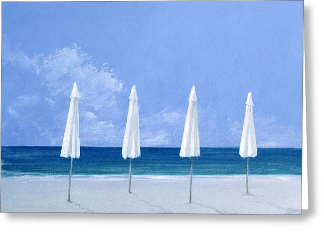 Umbrella Greeting Cards - Beach umbrellas Greeting Card by Lincoln Seligman