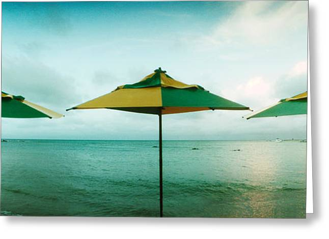 Sao Greeting Cards - Beach Umbrellas, Morro De Sao Paulo Greeting Card by Panoramic Images