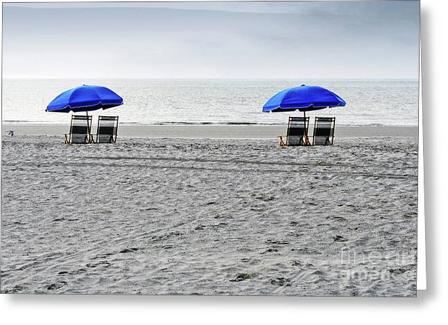 Beach Umbrellas On A Cloudy Day Greeting Card by Thomas Marchessault