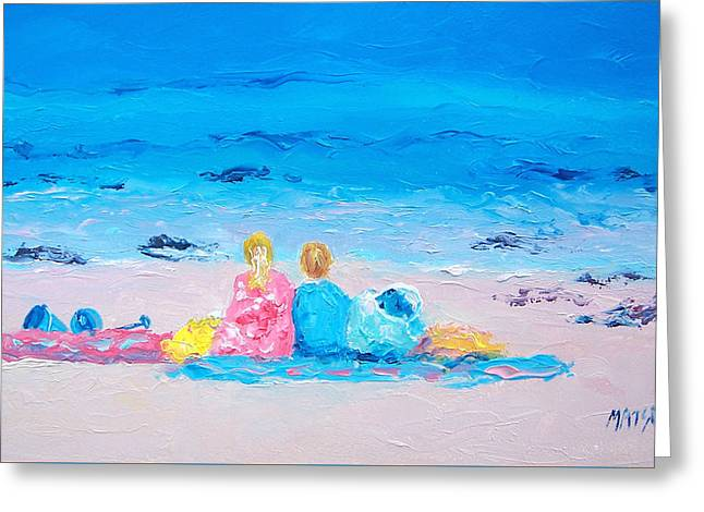 Beach Towel Greeting Cards - Beach Vacation Greeting Card by Jan Matson